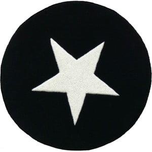 Vlnený koberec Star Black, 130 cm