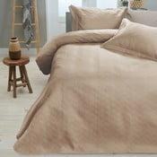 Krémový pléd cez posteľ s dvomi obliečkami na vankúš Sleeptime, 260 x 250 cm