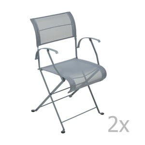 Sada 2 tmavosivých skladacích stoličiek s opierkami na ruky Fermob Dune