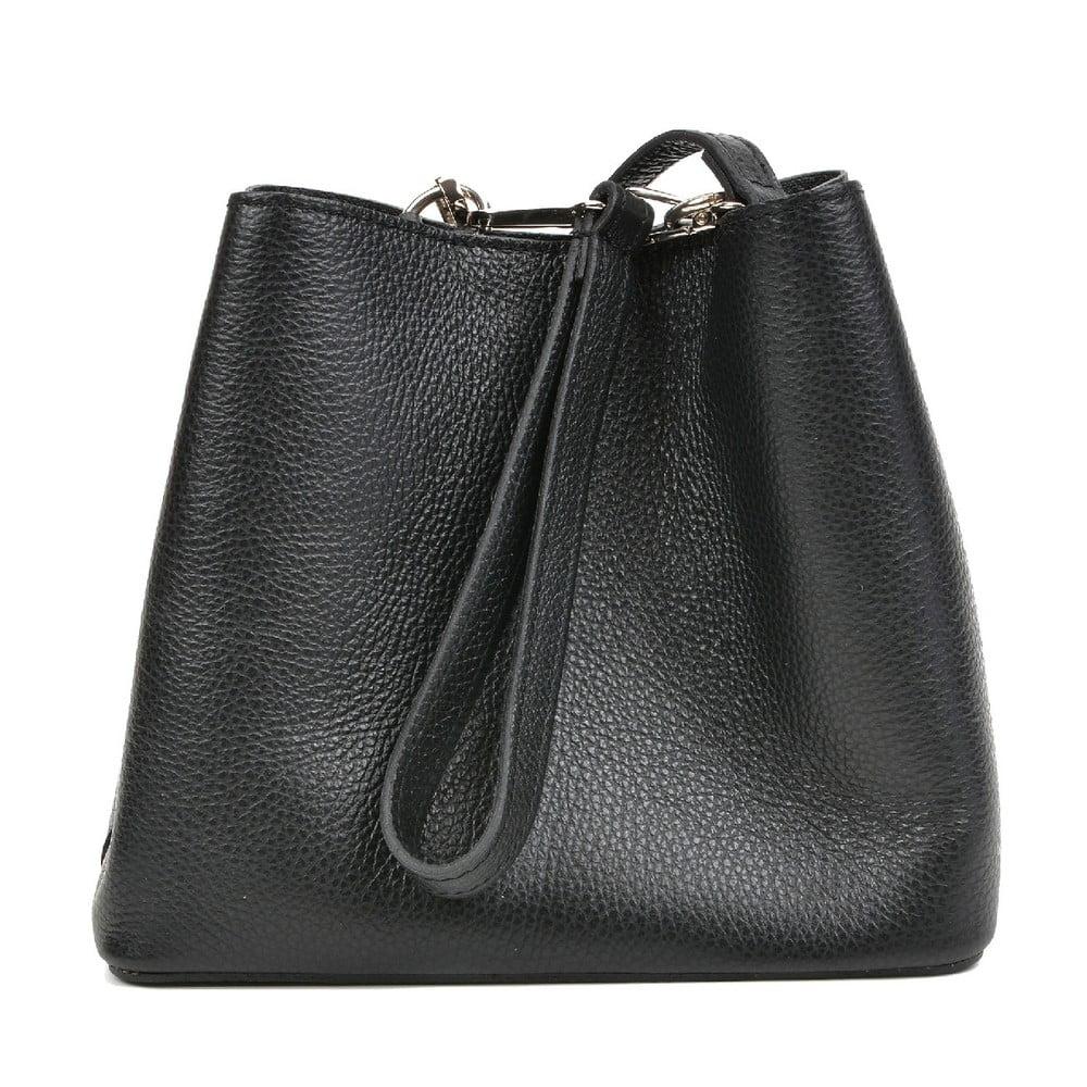 Čierna kožená kabelka Mangotti Bags Catarina
