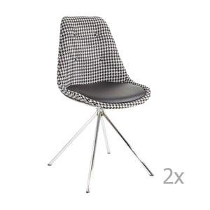 Súprava 2 čierno-bielych jedálenských stoličiek 13Casa Lars