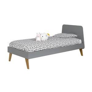Detská sivá posteľ JUNIIOR Provence Oskar Junior, 90 x 200 cm