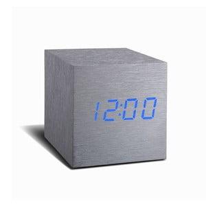 Sivý budík s modrým LED displejom Gingko Cube Click Clock