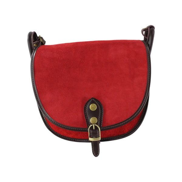 Kožená kabelka cez rameno Gina, červená