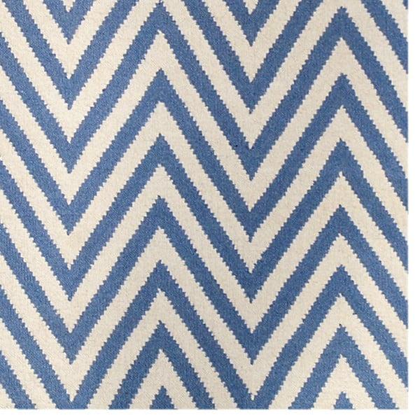 Vlnený koberec Zig Zag Light Blue, 90x60 cm