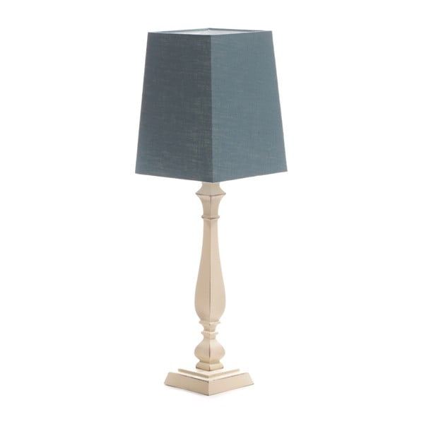 Modrá stolová lampa Tower, breza, 20 x 20 cm