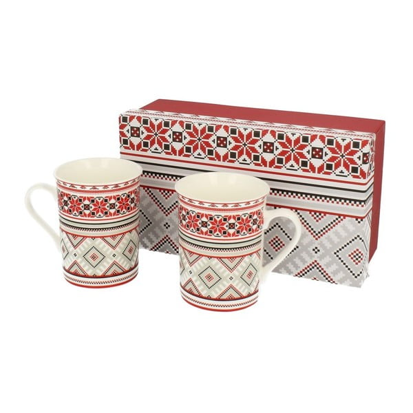 Set hrnčekov Red Ornaments, 2 ks