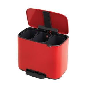 Červený odpadkový pedálový kôš s 3 vnútornými priehradkami Brabantia Bo, 3 x 11 l