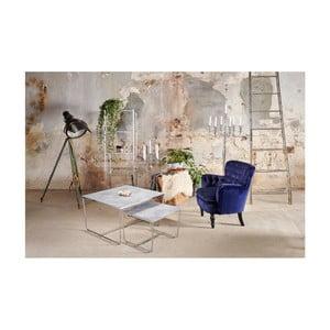 Sada 2 konferenčných stolíkov s podnožím v striebornej farbe a šedú mramorovou doskou RGE Stella