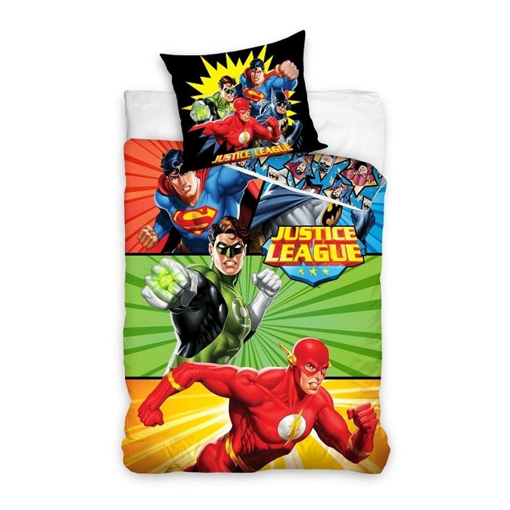 Detské bavlnené obliečky na jednolôžko CARBOTEX Justice League Comic, 160 × 200 cm