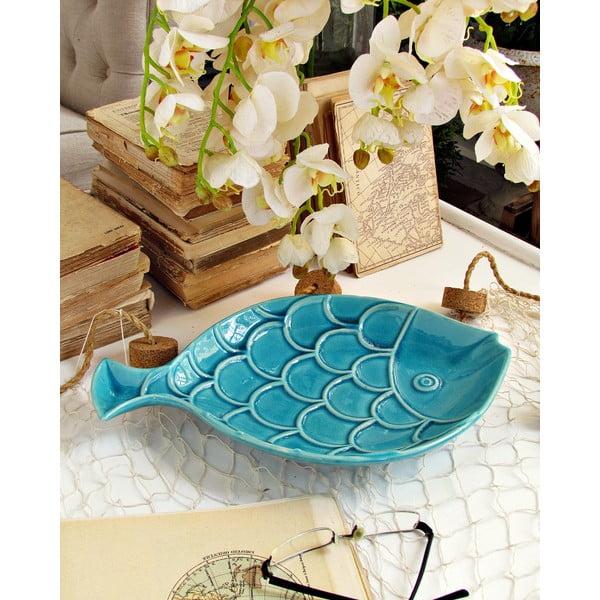 Modrý dekoratívny tanier Orchidea Milano Fish