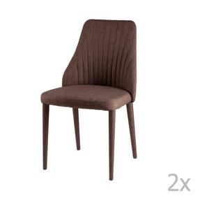 Sada 2 hnedých jedálenských stoličiek sømcasa Dora