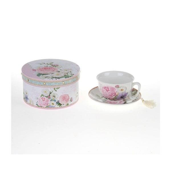 Porcelánová šálka s tanierikom v krabičke Roses