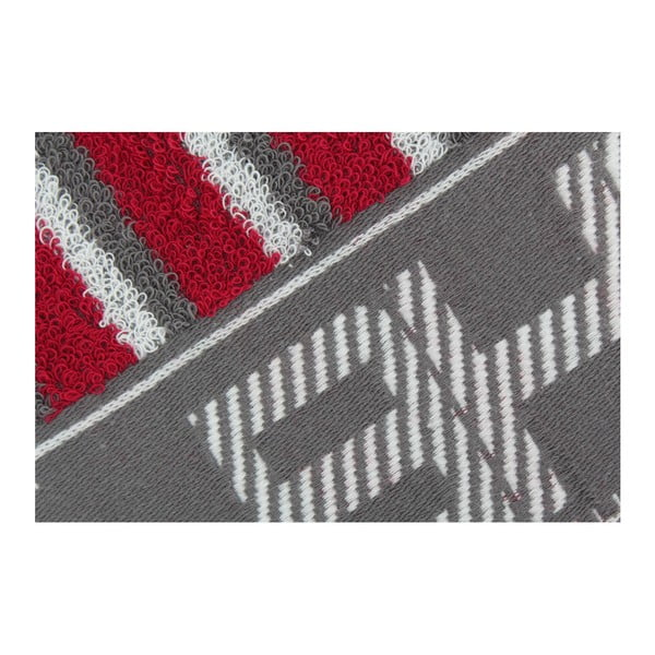 Sivo-červený uterák Beverly Hills Polo Club Lawson, 50×100cm