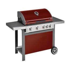 Červený plynový gril so 4 samostatne ovládateľnými horákmi, teplomerom a bočným ohrievačom Jamie Oliver BBQ