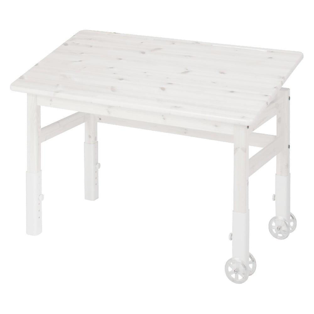 Biely písací stôl z borovicového dreva s náklopnou doskou Flexa Elegant