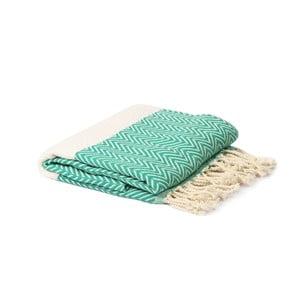 Zeleno-biely hammam uterák Spa Time Zig, 95 x 180 cm