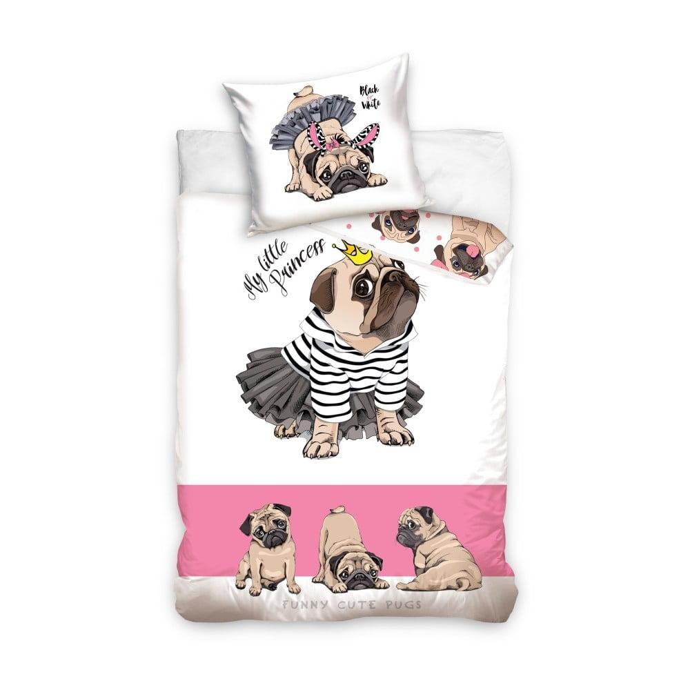 Detské bavlnené obliečky CARBOTEX Pug Princess, 160 × 200 cm