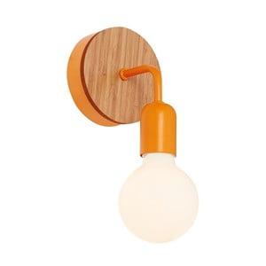 Oranžové nástenné svetlo s dreveným detailom Valetta
