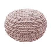 Ružový pletený puf OVERSEAS Natural