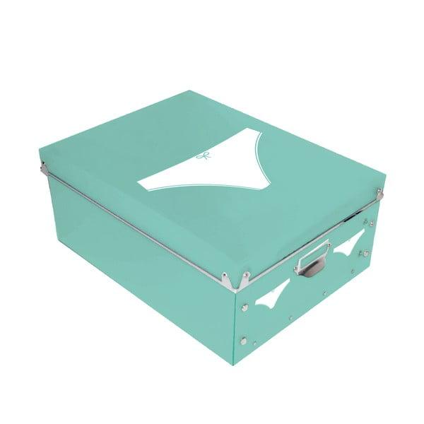 Úložný box na dámske spodné prádlo Turquoise Pict, 34,5 x 26 cm