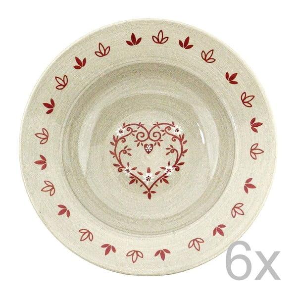 Sada keramických tanierov Heart 21,5 cm (6 ks)