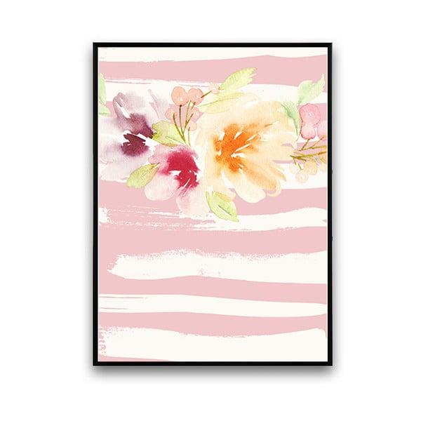 Plagát s kvetmi, ružovo-biele pozadie, 30 x 40 cm