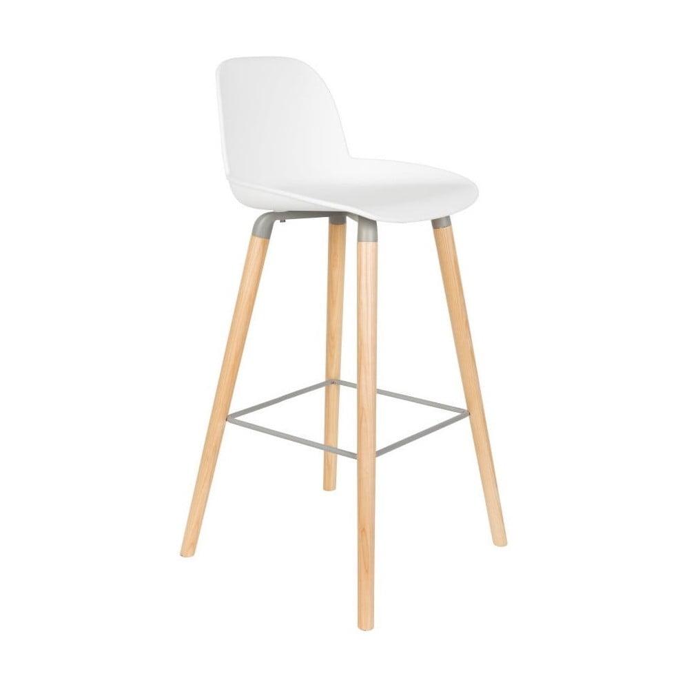 Sada 2 bielych barových stoličiek Zuiver Albert Kuip, výška sedu 75 cm