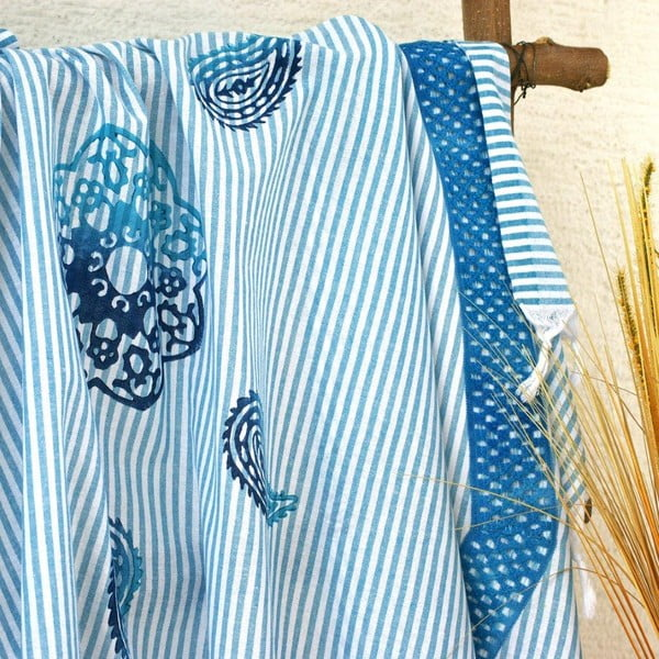 Hamam osuška Striped Turquoise, 90x180 cm