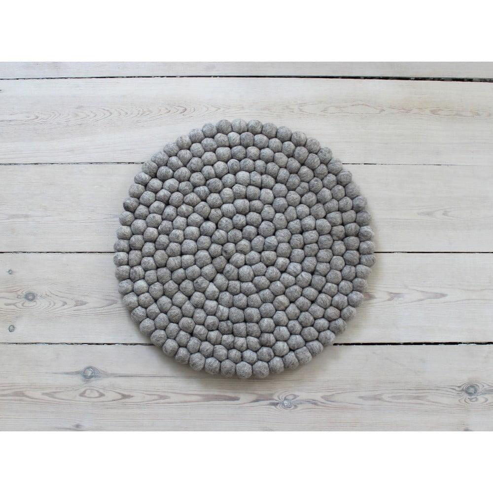 Pieskovohnedý guľôčkový vlnený vankúš na sedenie Wooldot Ball Chair Pad, ⌀ 39 cm
