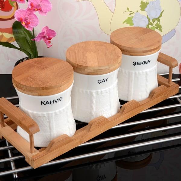 Bambusový stojan s 3 dózami Spices