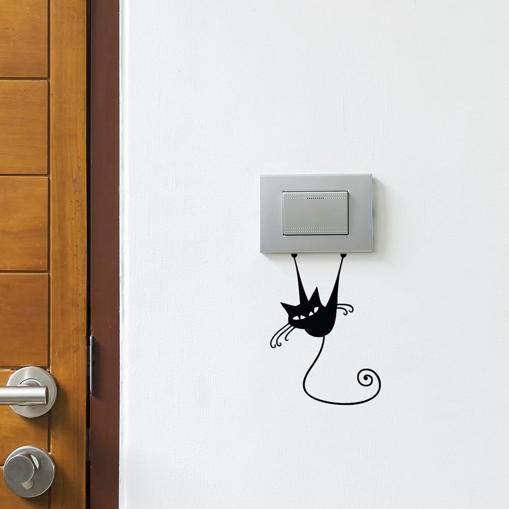 Čierna samolepka na vypínač Ambiance Acrobat Cat