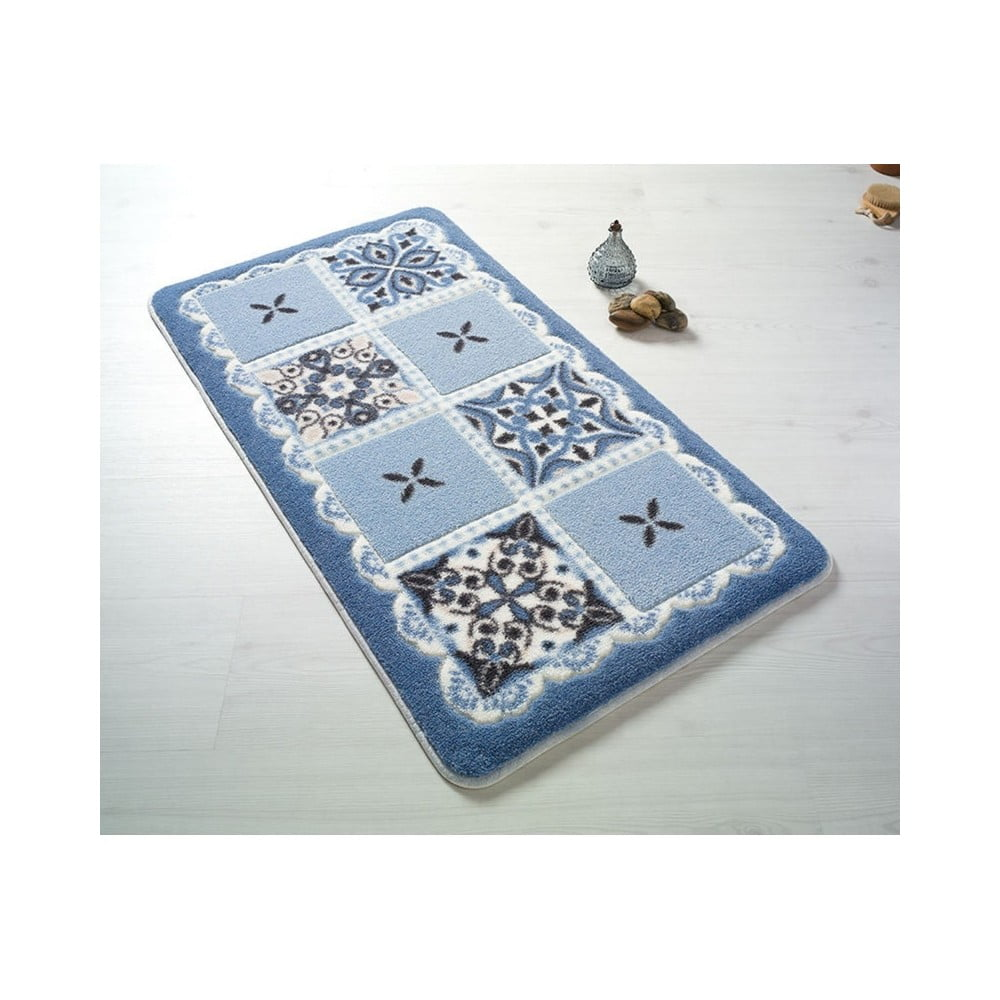 Modrá predložka do kúpeľne Confetti Ceramic, 80 × 140 cm