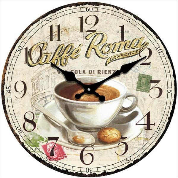 Sklenené hodiny Caffé Roma, 34 cm