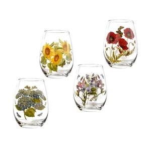 Sada 4 ks pohárov s motívom kvetín Portmeirion Flower, 570 ml