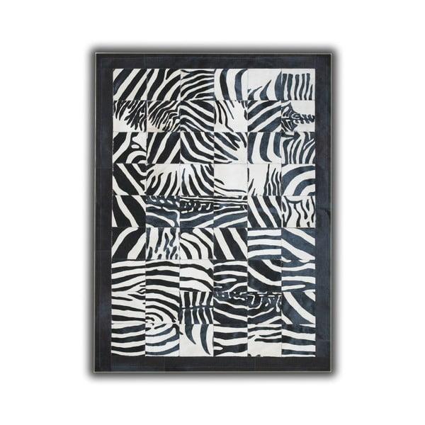 Koberec z pravej kože Zebra Border, 140x200 cm