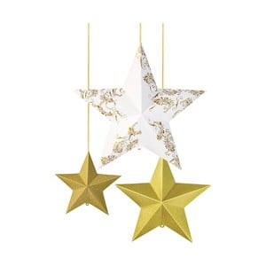 Sada 3 papierových závesných dekorácií v tvare hviezd Talking Tables