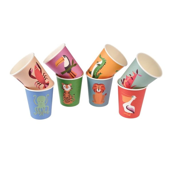 Sada 8 papierových téglikov Rex London Colourful Creatures, 250 ml