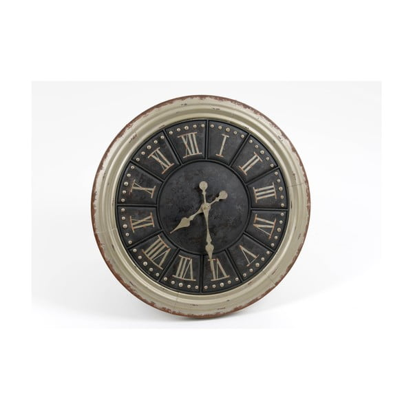 Hodiny Silver Black Clock, 60 cm