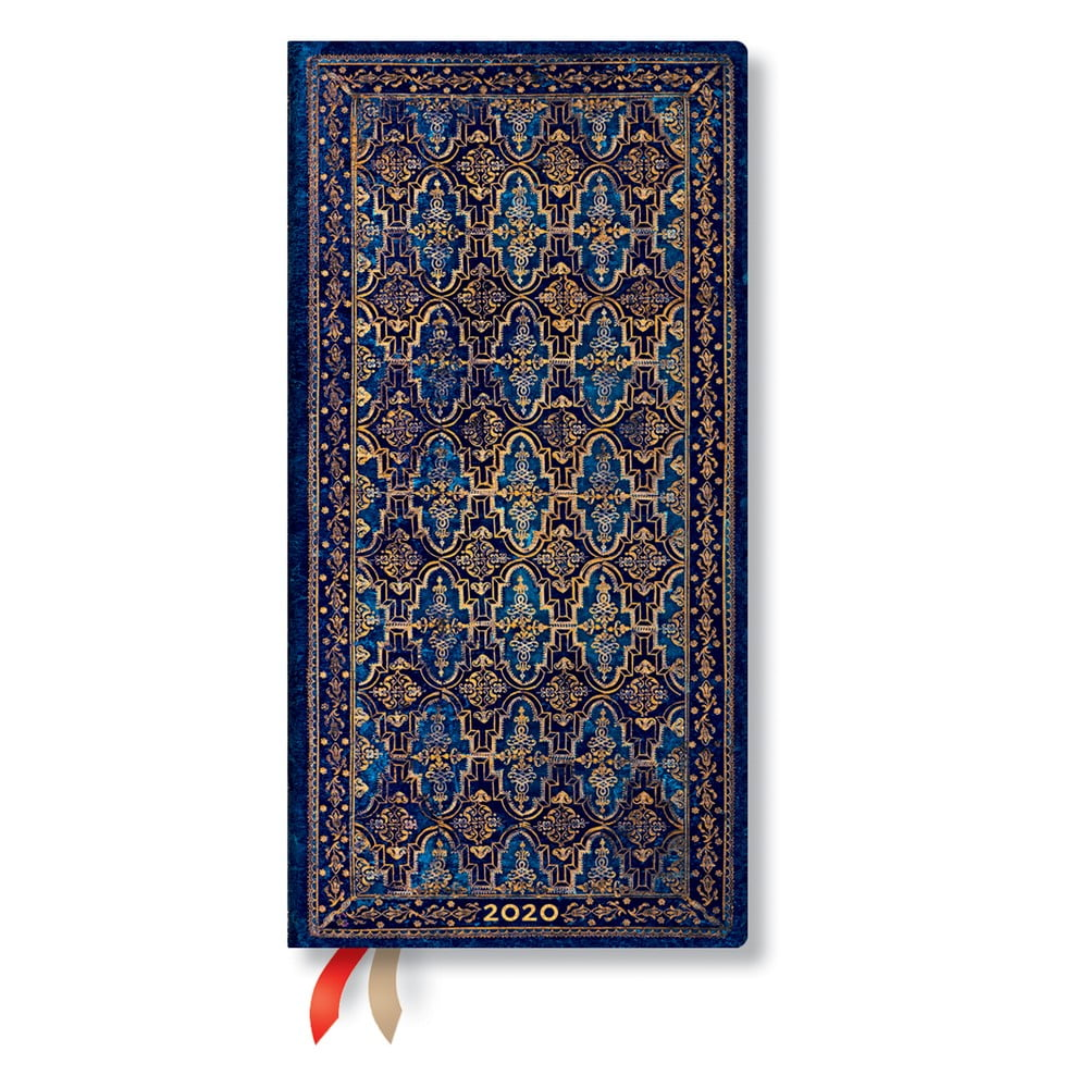 Modrý diár na rok 2020 v tvrdej väzbe Paperblanks Blue Rhine, 160 strán