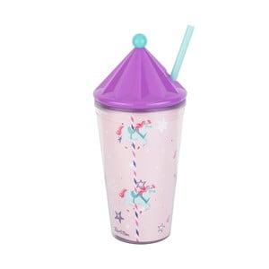 Ružový pohárik na nápoje so slamkou Tantitoni Carousel, 475 ml