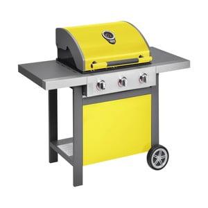 Žltý plynový gril s 3 samostatne ovládateľnými horákmi a teplomerom Jamie Oliver BBQ