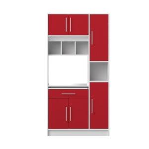 Červeno-biely kuchynský úložný systém s policami Symbiosis Louise