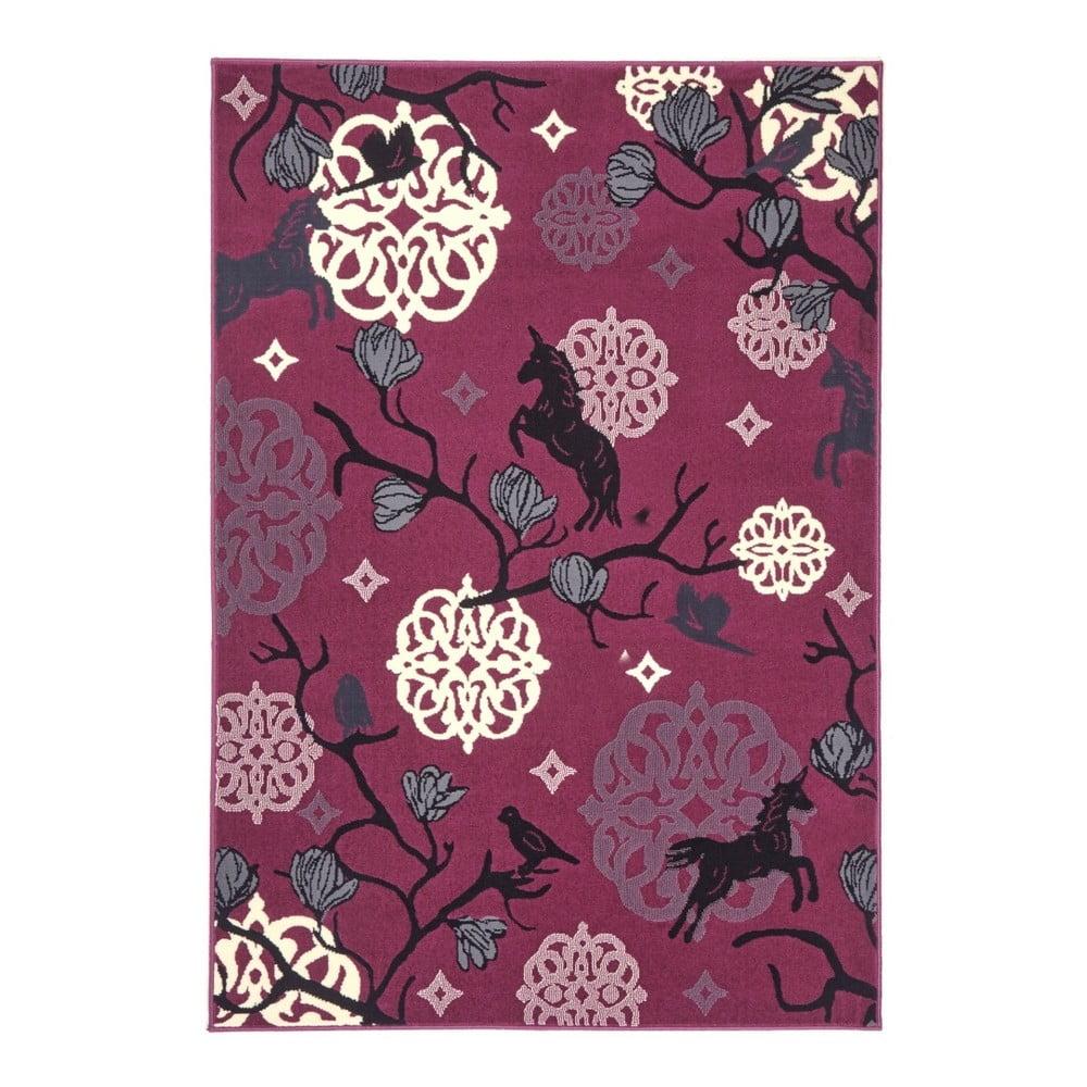Detský fialový koberec Zala Living Unicorn, 140 × 200 cm