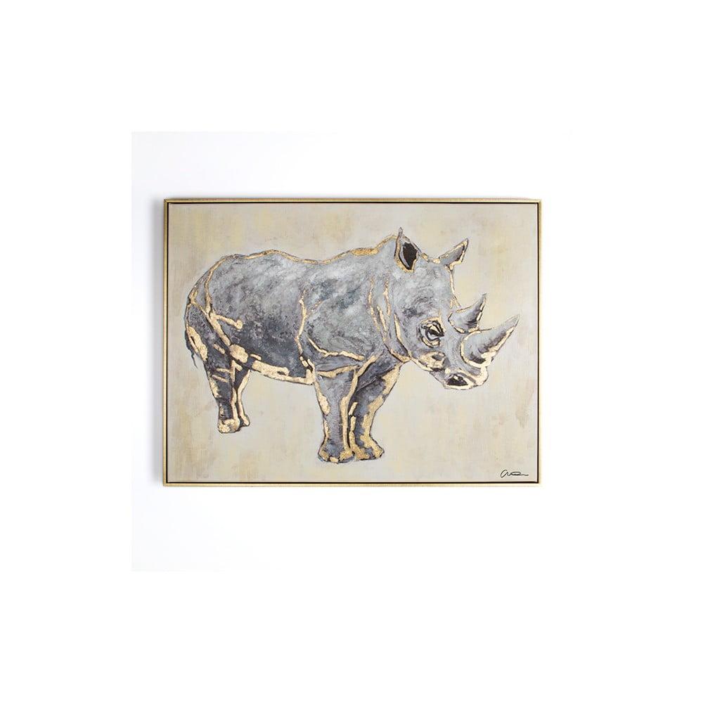 Ručne maľovaný obraz Graham & Brown Rhino, 60 × 80 cm