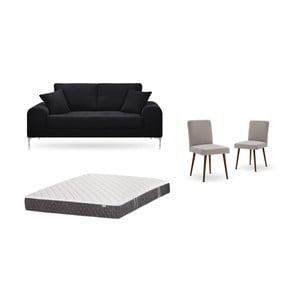 Set dvojmiestnej čiernej pohovky, 2 sivobéžových stoličiek a matraca 140 × 200 cm Home Essentials
