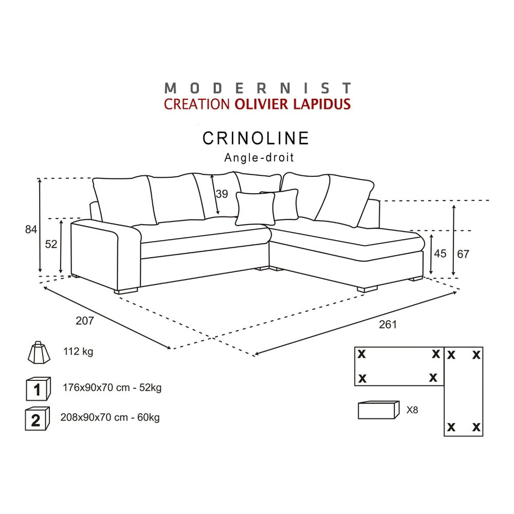 ierno ru ov pohovka modernist crinoline prav roh bonami. Black Bedroom Furniture Sets. Home Design Ideas