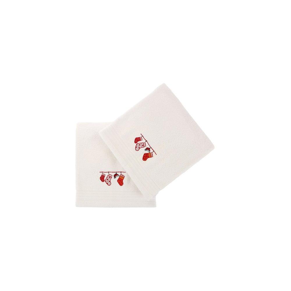 Sada 2 bielych vianočných uterákov Stockings, 70x140 cm