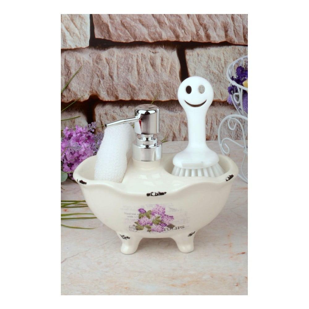Set dávkovača mydla, špongie a kefy na telo Bloom