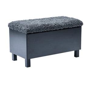 Čierna lavica s úložným priestorom RGE Sture, dĺžka 80 cm